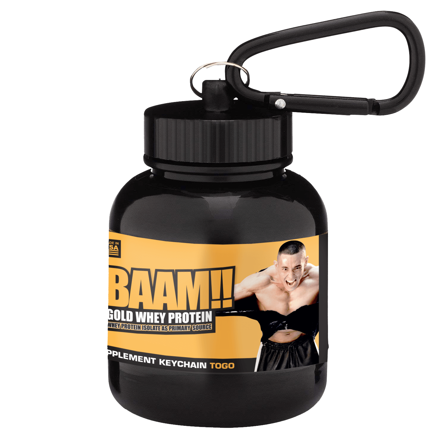 Whey To Go Supplement Keychain BAAM!! Black
